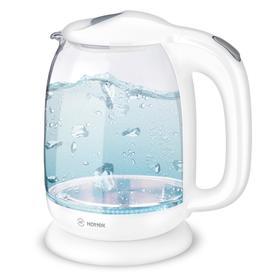 Чайник электрический HOTTEK HT-960-008, стекло, 1.7 л, 2200 Вт, подсветка, белый