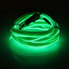 Неоновая нить для подсветки салона, плоская, 12 В, 2 м, с адаптером питания, зеленый Ош