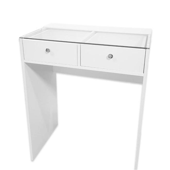 Гримерный стол со стеклом 800*480*1000, 2 ящика, цвет белый