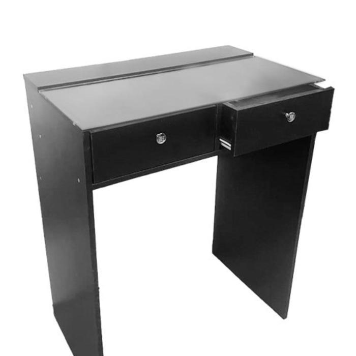 Гримерный стол со стеклом 800*480*1000, 2 ящика, цвет чёрный