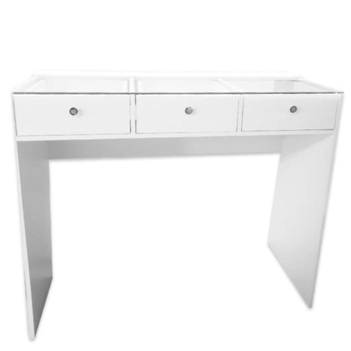 Гримерный стол со стеклом 1200*480*1000 3 ящик, цвет белый