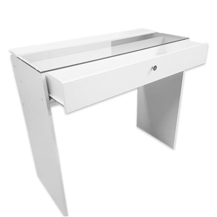 Гримерный стол со стеклом 1100*480*1000 1 ящик, цвет белый