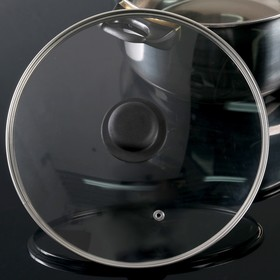 Крышка для сковороды и кастрюли стеклянная, d=24 см, с пластиковой ручкой