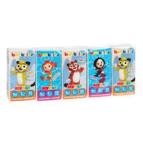 Платочки бумажные Bambolina Ми-ми-мишки и Лео и Тиг 3 слоя, 10 шт. Микс