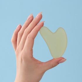 Массажёр Гуаша «Сердце», 8 × 5 см, матовый жёлтый хрусталь