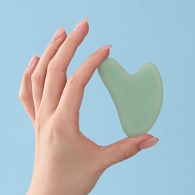 Массажёр Гуаша «Сердце», 8 × 5 см, матовый зелёный нефрит