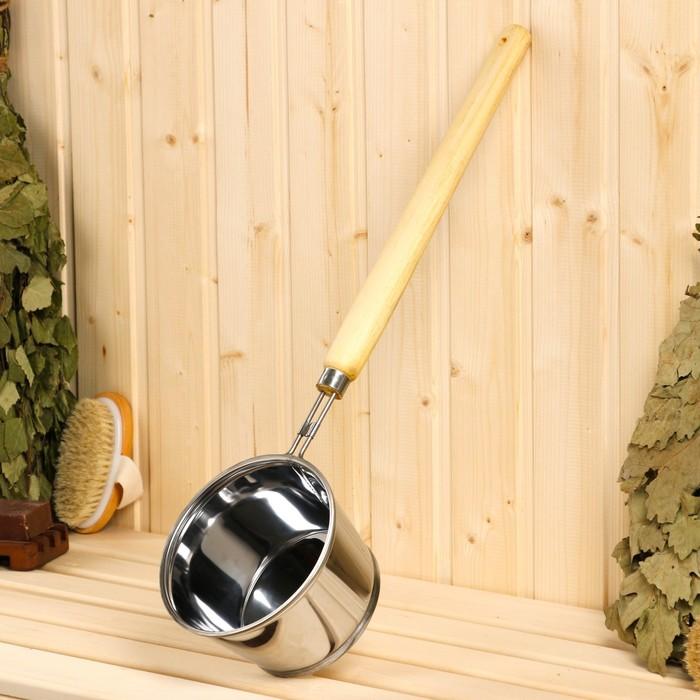 Ковш для бани металлический, 1.2л, 56 см, с деревянной ручко