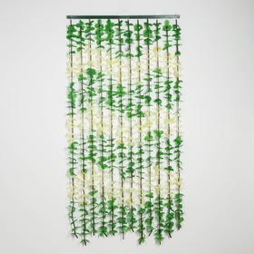 Занавеска декоративная «Листики», 90×180 см, 12 нитей, цвет зелёный Ош