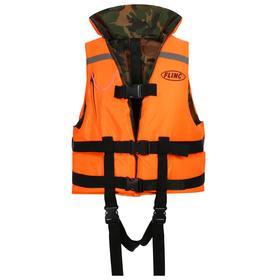 Жилет спасательный Flinc двухсторонний 50 кг (оранжевая основа, камуфляж внутри)