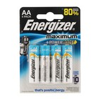 Батарейка алкалиновая Energizer Maximum, АА, LR6-4BL, 1.5В, блистер, 4 шт.