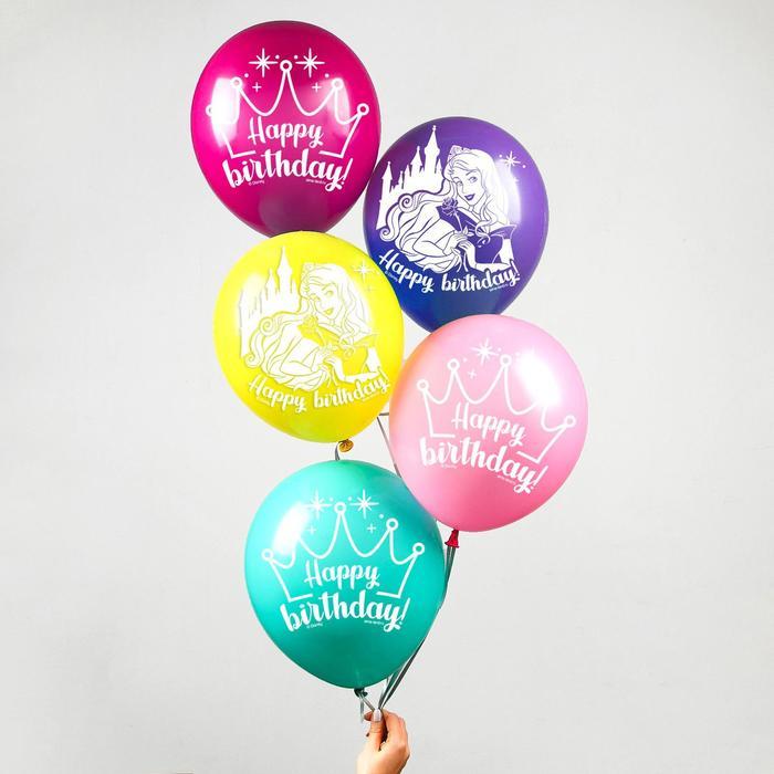"""Воздушные шары """"Happy Birthday"""" Принцессы Дисней корона(набор 5 шт)"""