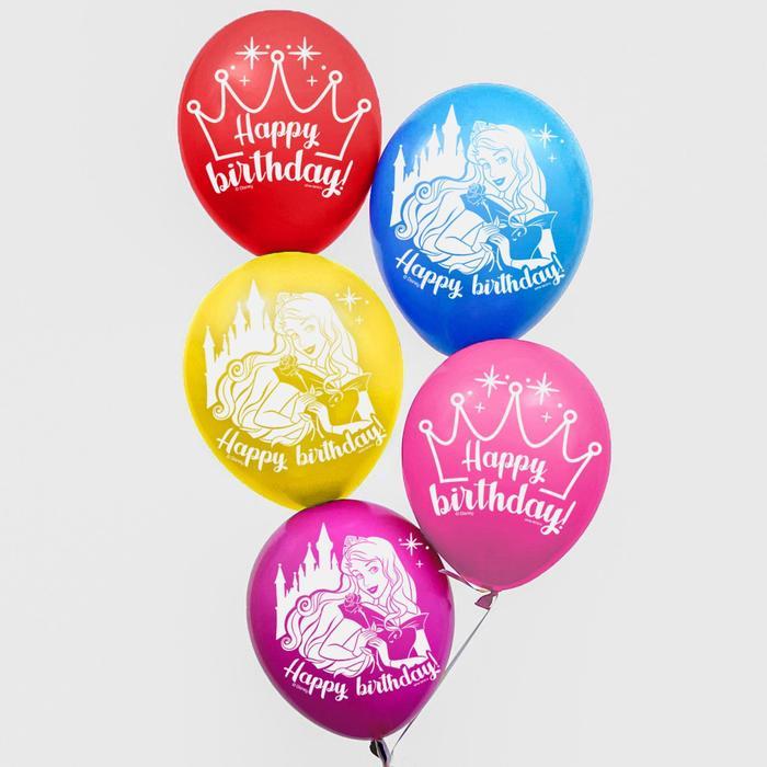 """Воздушные шары """"Happy Birthday"""" Принцессы Дисней корона(набор 50 шт)"""