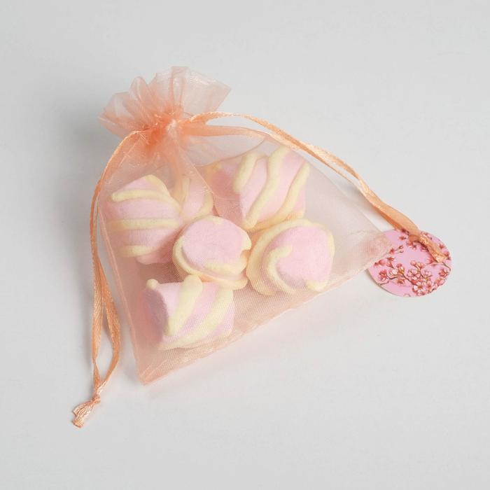 Мешочек подарочный органза розовый Сакура, с шильдиком, 10 х 12 см