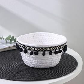 Корзина для хранения Доляна «Мокко», 16×16×9 см, цвет бело-чёрный