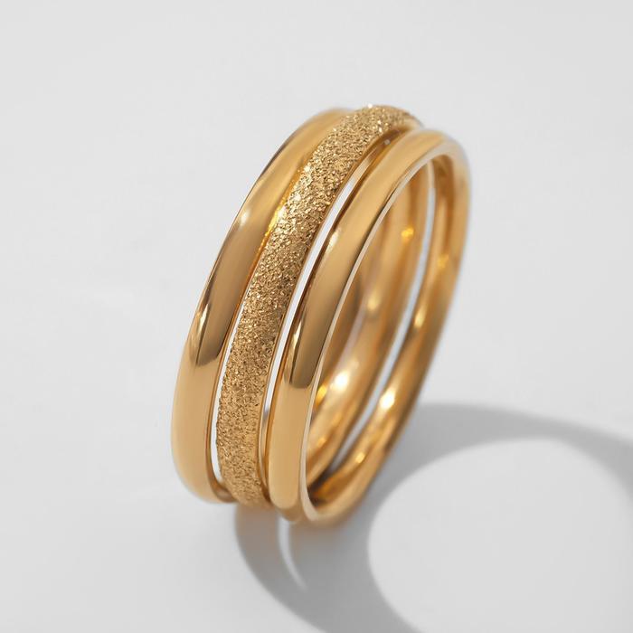 """Кольцо """"Арабика"""" три ряда, цвет золото, размер 17"""
