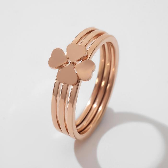 """Кольцо """"Арабика"""" клевер, цвет золото, размер 17"""