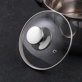 Крышка для сковороды и кастрюли стеклянная, d=16 см, с ручкой из нержавеющей стали (для духового шкафа)