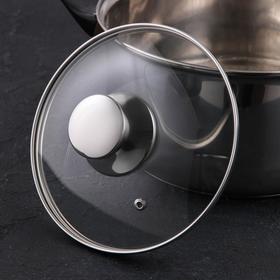 Крышка для сковороды и кастрюли стеклянная JARKO, d=18 см, с ручкой из нержавеющей стали (для духового шкафа)