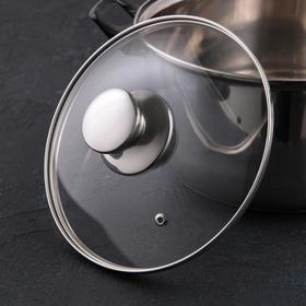 Крышка для сковороды и кастрюли стеклянная JARKO, d=20 см, с ручкой из нержавеющей стали (для духового шкафа)
