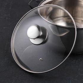 Крышка для сковороды и кастрюли стеклянная, d=24 см, с ручкой из нержавеющей стали (для духового шкафа)