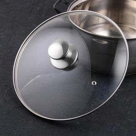 Крышка для сковороды и кастрюли стеклянная, d=28 см, с ручкой из нержавеющей стали (для духового шкафа)