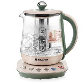 Чайник электрический BRAYER 1015BR, стекло, 1.5 л, 2200 Вт, бежево-зеленый