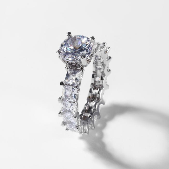"""Кольцо """"Богатство"""" иголки, цвет белый в серебре, размер 18"""