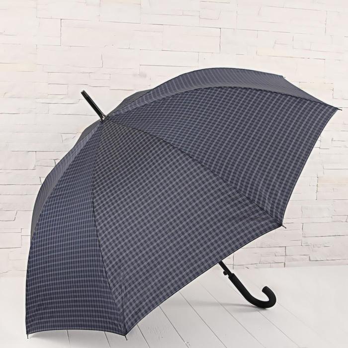 Зонт - трость полуавтоматический «Клетка», 8 спиц, R = 56 см, цвет тёмно - синий