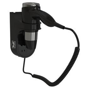 Фен Puff-1600ВlB, настенный, 1600 Вт, с розеткой, чёрный