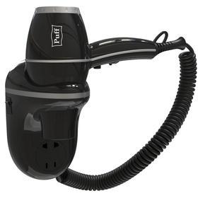 Фен Puff-1800ВlB, настенный, 1800 Вт, с розеткой, чёрный