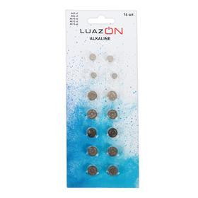 Набор алкалиновых батареек LuazON AG3/AG4/AG10/AG12/AG13, 14 шт