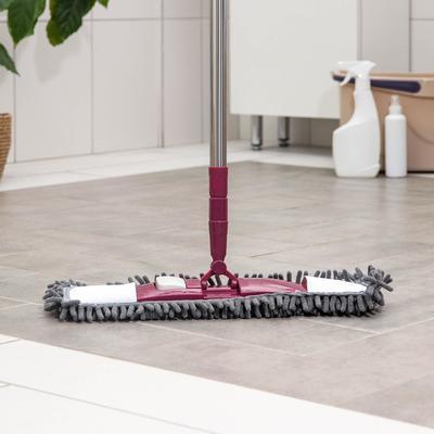 Швабра для мытья пола Raccoon, плоская, со стальной телескопической ручкой, 41×12×77(130) см, микрофибра букли - Фото 1