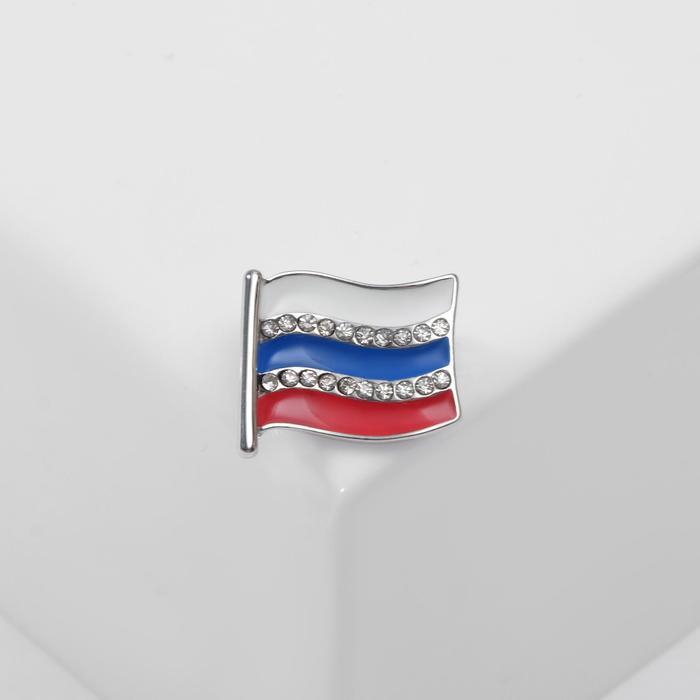 """Брошь """"Флаг России"""", цветная в серебре"""