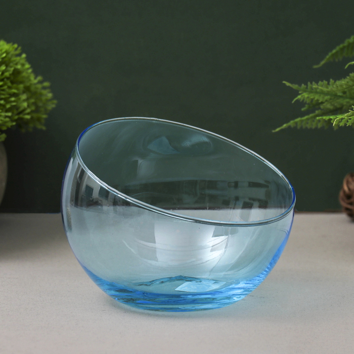 """Ваза """"Анабель"""" шаровая с косым резом голубая d-12см, h-9.5см 1668"""
