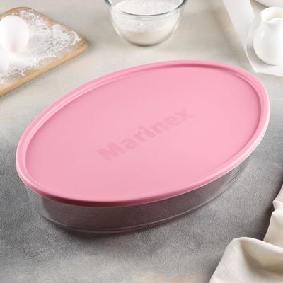 Форма для запекания овальная, 3,2 л, с пластиковой крышкой BPA Free, цвет МИКС - Фото 1