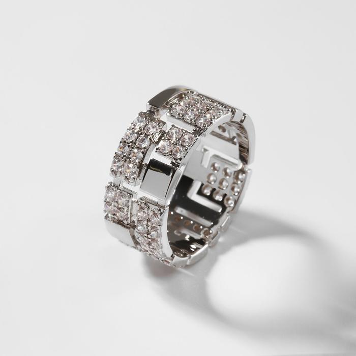 """Кольцо """"Богатство"""" два ряда, цвет белый в серебре, размер19"""