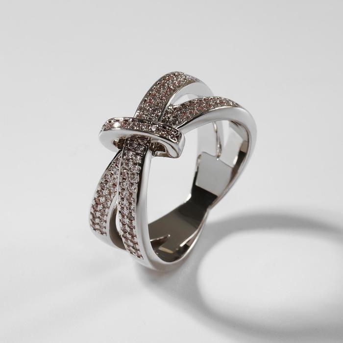"""Кольцо """"Богатство"""" внедрение, цвет белый в серебре, размер 19"""