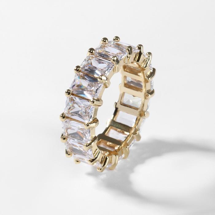 """Кольцо """"Богатство"""" квадратные кристаллы, цвет белый в золоте, размер 16"""