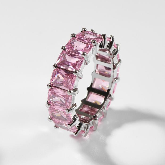 """Кольцо """"Богатство"""" квадратные кристаллы, цвет розовый в серебре, размер 17"""