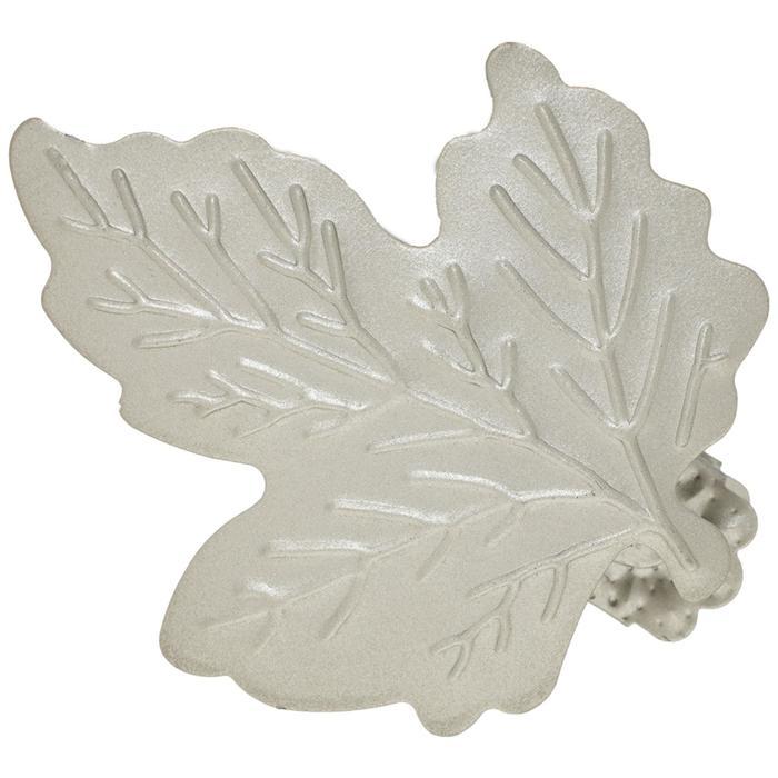Клипса для штор на защёлке «Кленовый лист», цвет серебряный