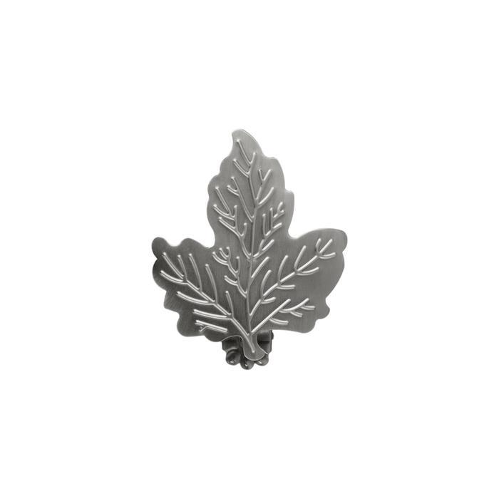 Клипса для штор на защёлке «Кленовый лист», цвет тёмное серебро