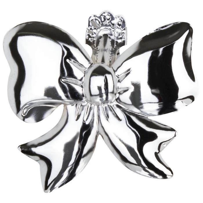Клипса для штор на защёлке «Бант», цвет серебряный