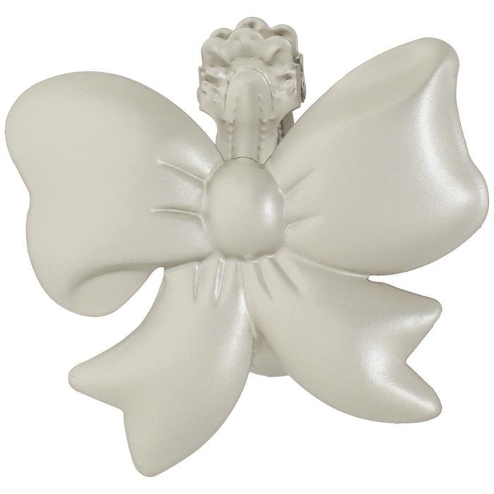 Клипса для штор на защёлке «Бант», цвет жемчужный