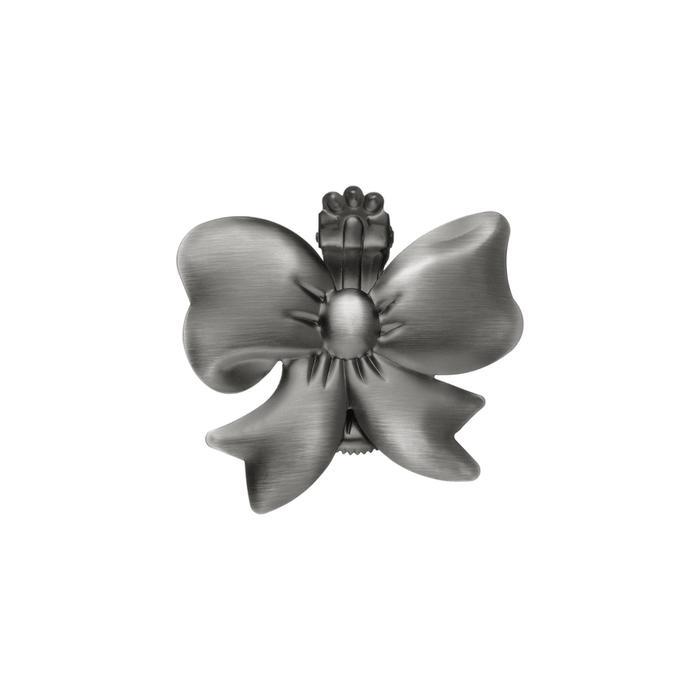 Клипса для штор на защёлке «Бант», цвет тёмное серебро