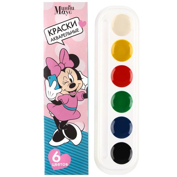 Акварель медовая «Минни» Минни Маус, 6 цветов, в картонной коробке, без кисти