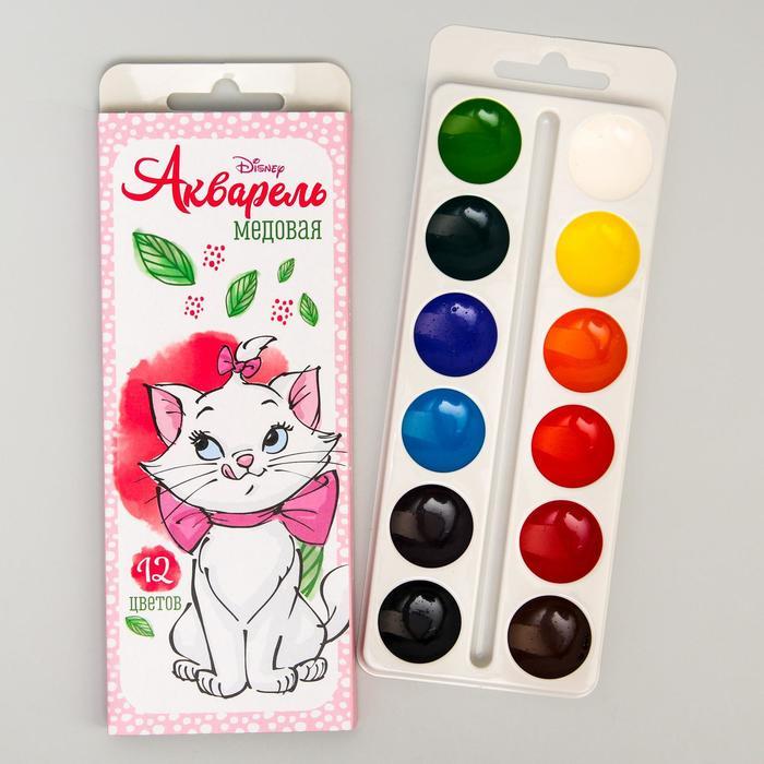 Акварель медовая «Кошечка Мари» Коты-аристократы, 12 цветов, в картонной коробке,без кисти