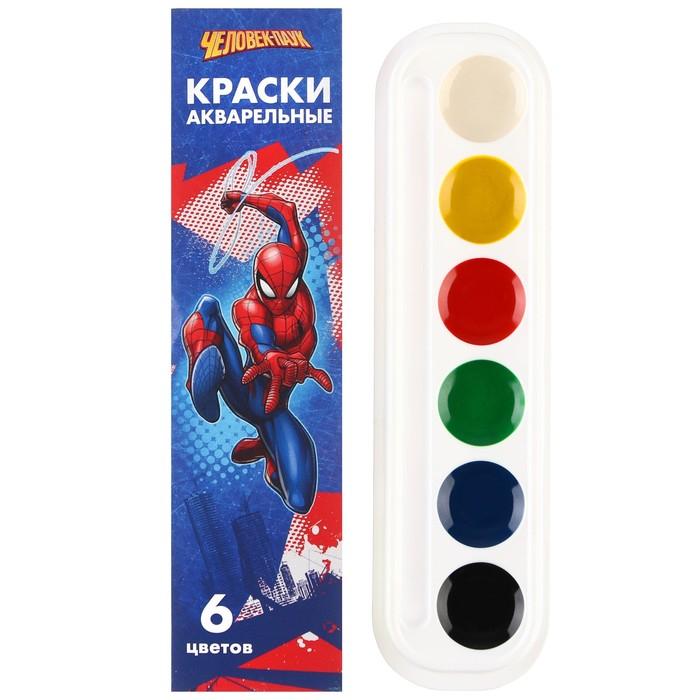 Акварель медовая «Человек-паук», 6 цветов, в картонной коробке, без кисти