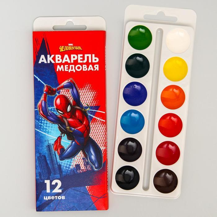 Акварель медовая «Человек-паук», 12 цветов, в картонной коробке, без кисти