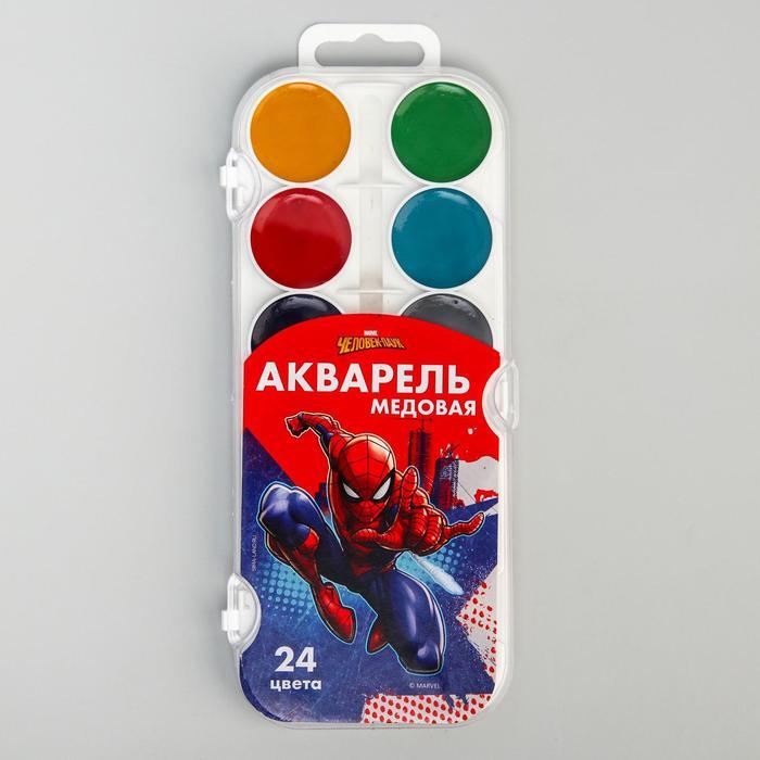 Акварель медовая «Человек-паук», 24 цвета, без кисти