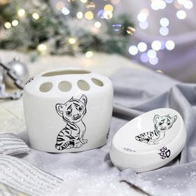 Набор для ванной 'Тигрёнок', 2 предмета, символ года 2022, белая, деколь, керамика, микс Ош